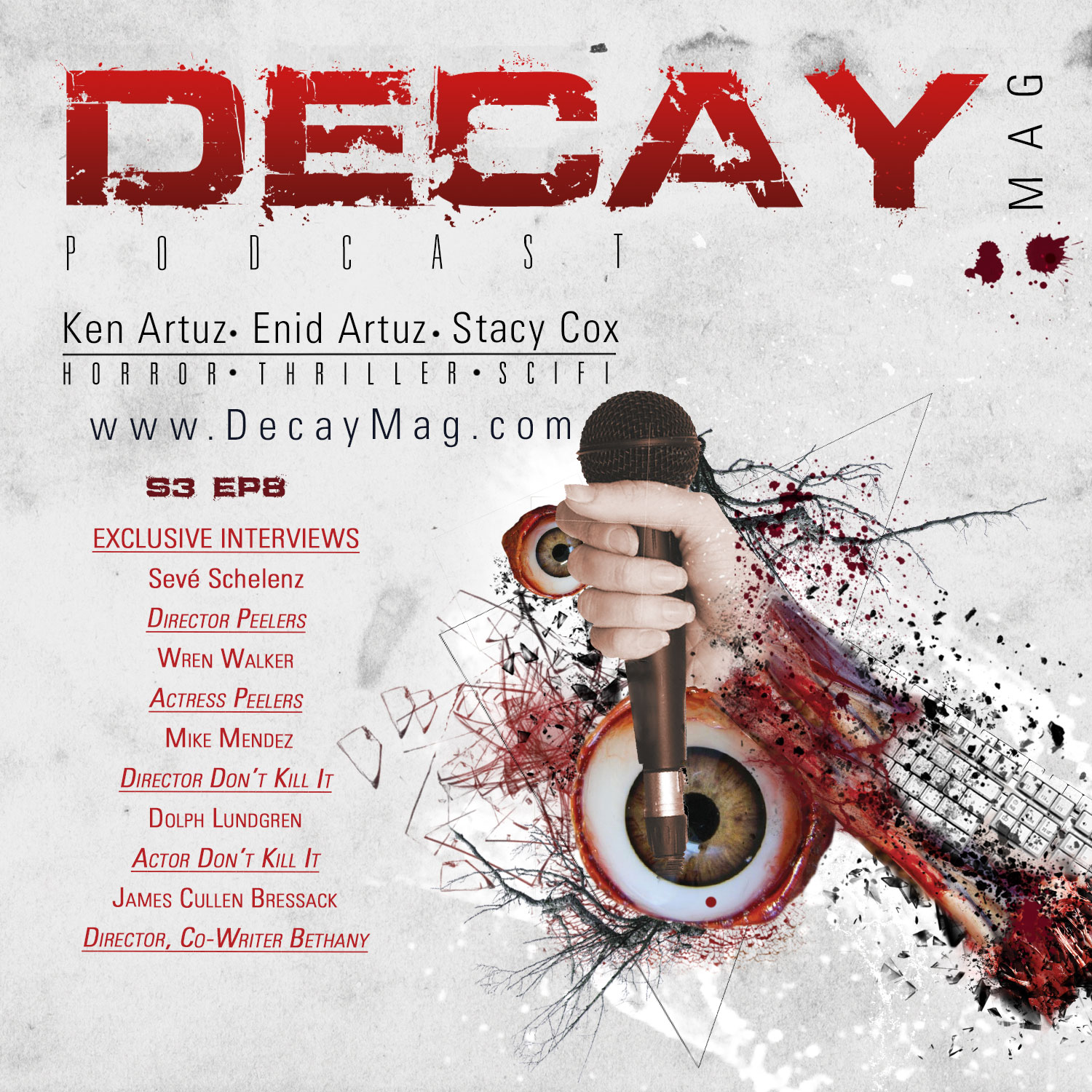 DecayMag Horror News Podcast S3 EP 8: Exclusive Interviews: Sevé Schelenz, Wren Walker, Mike Mendez, Dolph Lundgren, James Cullen Bressack