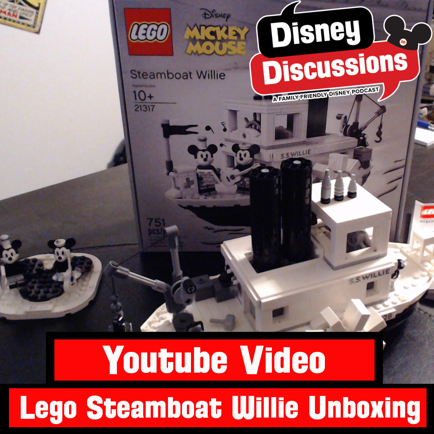 Youtube Video: Lego Steamboat Willie set unboxing and timelapse