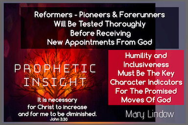 THE TESTING OF THOSE CALLED TO REFORM-PIONEER OR BE FORERUNNERS -
