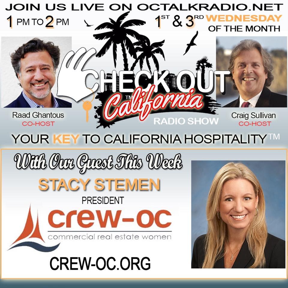 Episode #31- Stacy Stemen of Crew-OC, is on the Check Out California Radio Show!