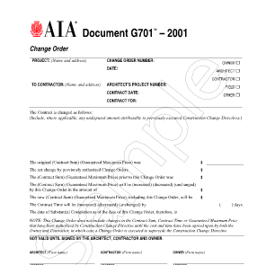 Critical Project Documents - Part III (Change Orders)