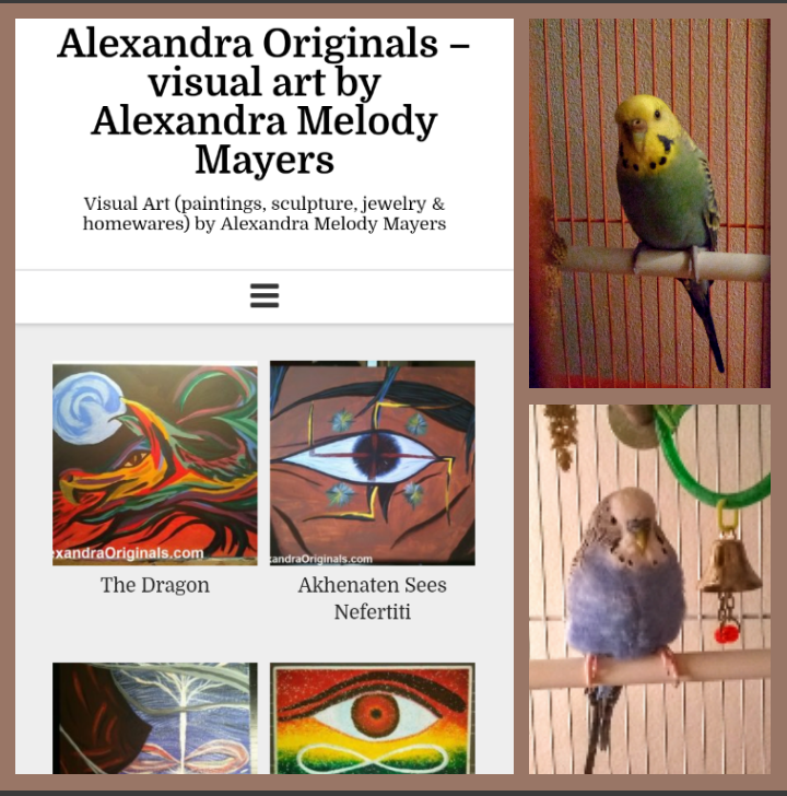 The launch of AlexandraOriginals.com for my paintings & other visual art. Plus a friend named Sunny for Corey.