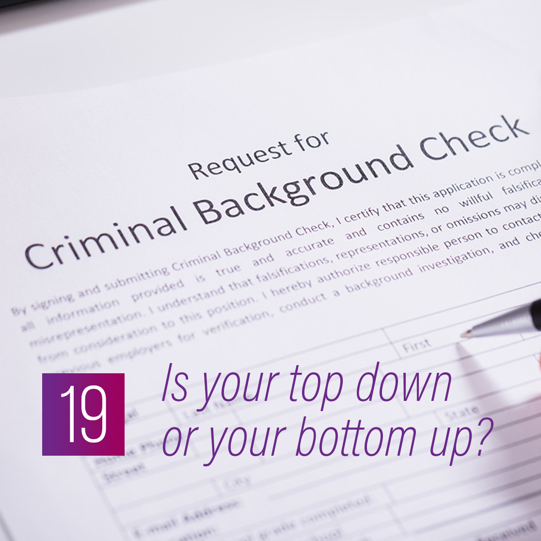 019 - Is your top down or your bottom up?
