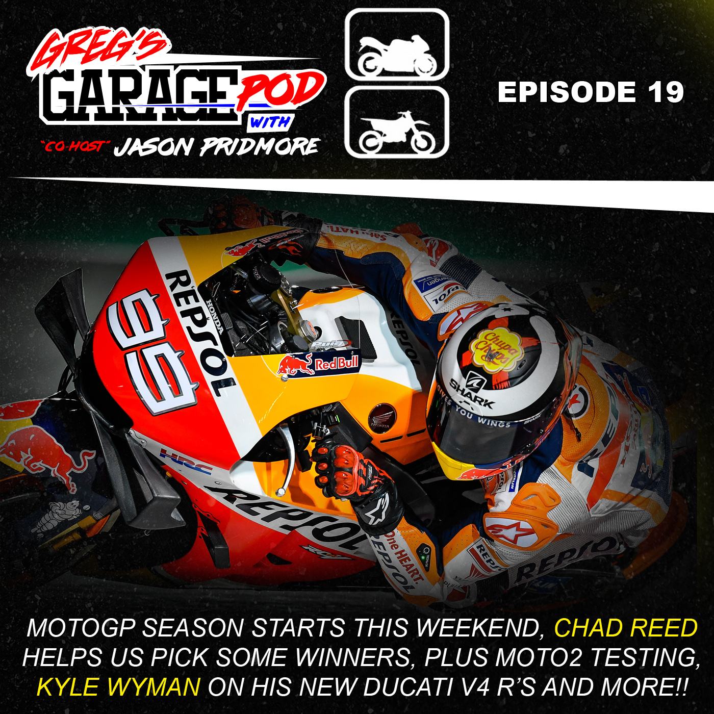Ep19 - MotoGP season preview with Chad Reed s predictions for the MotoGP  weekend. Guest Kyle Wyman gets his Ducati V4 R s 160fdc549d42