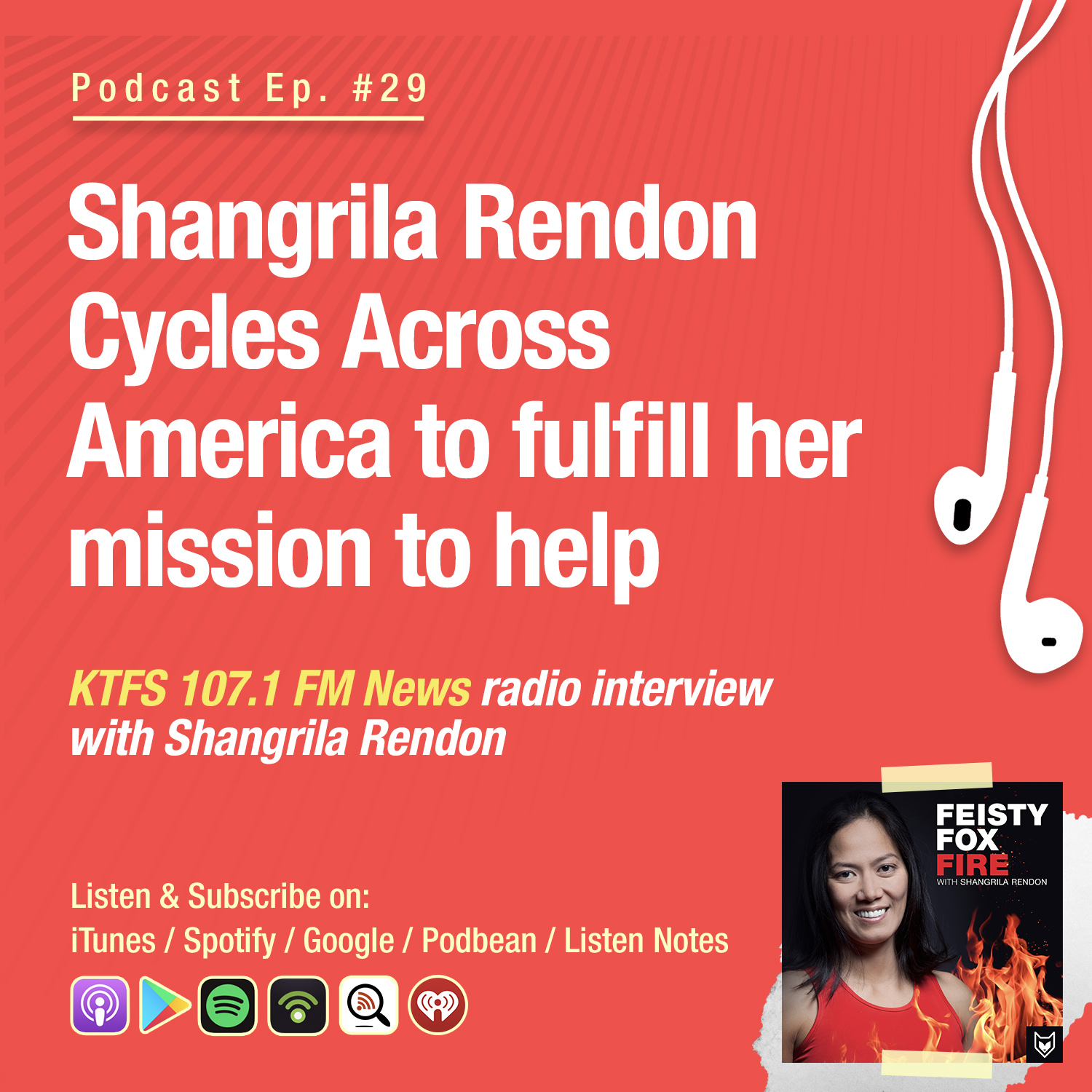 Shangrila Rendon Cycles Across America to fulfill her mission to help - KTFS 107.1 FM News radio interview