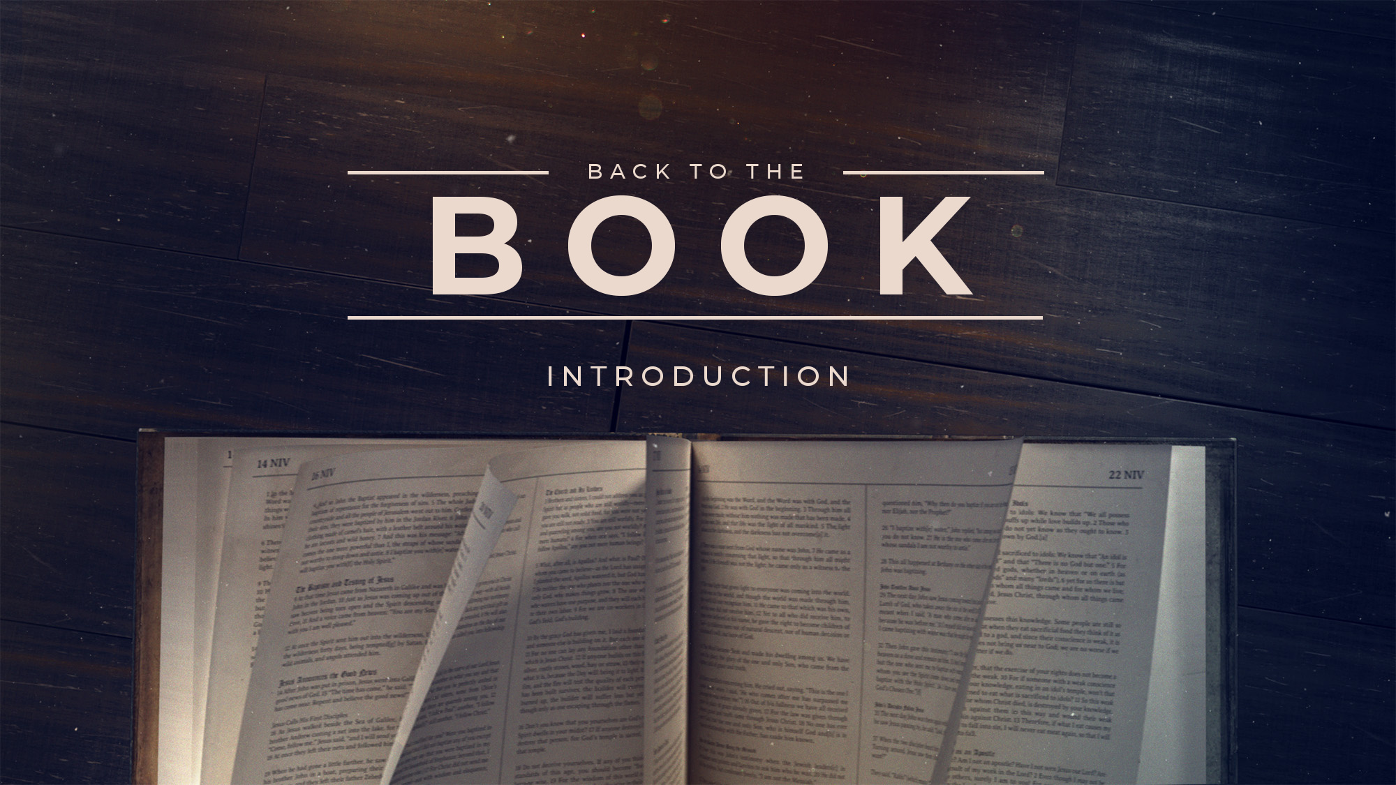 Back to the Book - Introduction