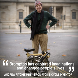 Helen chats to the inventor of the iconic Brompton Bicycle, Andrew Ritchie MBE