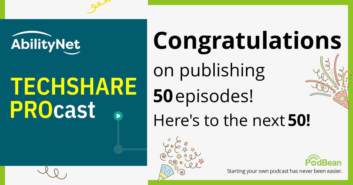TechShare Procast logo with text that reads 'Congratulations on publishing 50 episodes. Here's to the next 50!